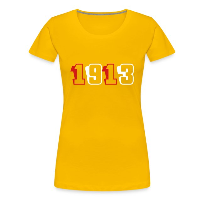 1913 fitted tee (red and white text)