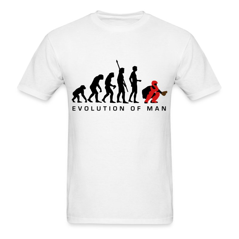 evolution_baseball_catcher_b_3c - Men's T-Shirt