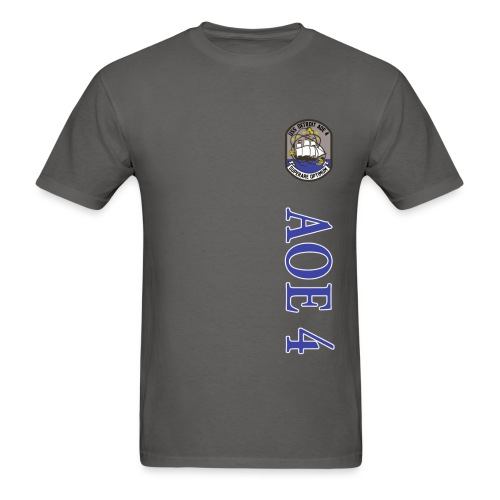 USS DETROIT AOE 4 STRIPE TEE w/ USA FLAG SLEEVE PRINT - Men's T-Shirt