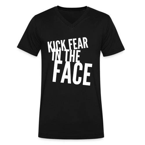 KICK Fear in the FACE - Men's V - Select Color - Men's V-Neck T-Shirt by Canvas