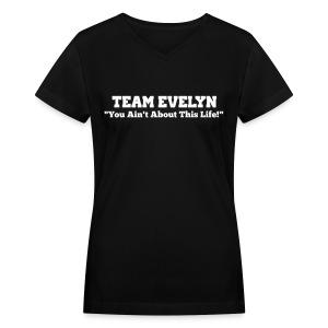 TEAM EVELYN - Women's V-Neck T-Shirt