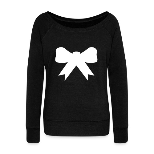 Off the shoulder bow hoodie - Women's Wideneck Sweatshirt