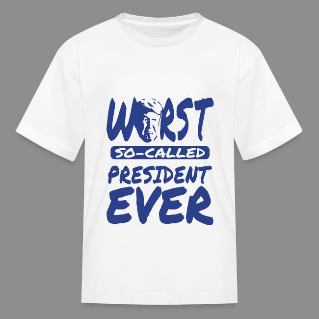 T Shirt Design Kids | Black Style Trump Worst President Ever Black Design Kids T Shirt