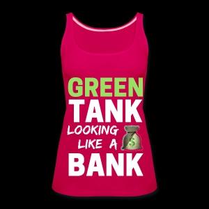 Ladies' GREEN TANK - Plus Top w/ White Text - Women's Premium Tank Top