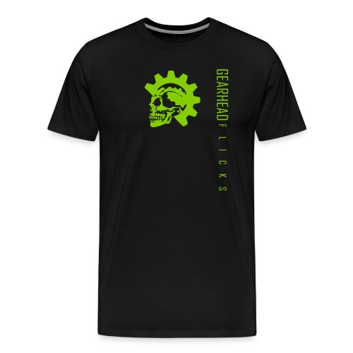 Skull chest & text sideways (Green) - Men's Premium T-Shirt