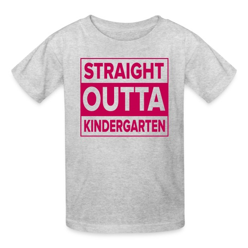 KIDS Straight Outta Kindergarten Dark PINK FLAT - Kids' T-Shirt