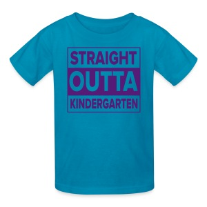 KIDS PURPLE Flat Straight Outta Kinder - Kids' T-Shirt