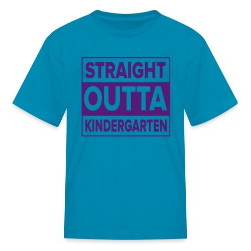KIDS PURPLE Flat Straight Outta Kinder - Kids' T-Shirt