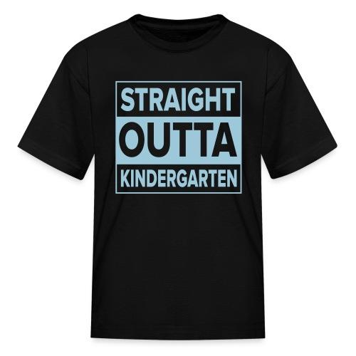 KIDS Light BLUE Flat Straight Outta Kinder - Kids' T-Shirt
