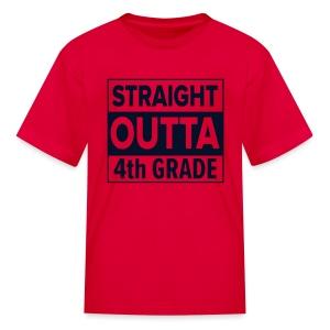 KIDS Straight Outta 4th Grade BLACK GLITTER - Kids' T-Shirt