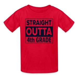 KIDS Straight Outta 4th Grade BLACK GLITTER - Kids' T-Shirt