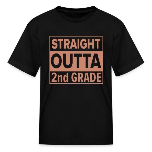 KIDS Straight Outta 2nd Grade PINK GLITTER - Kids' T-Shirt