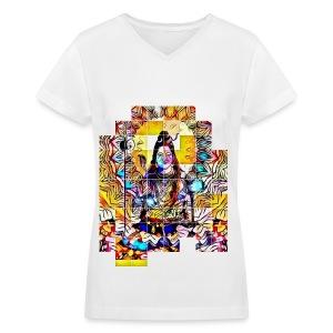Psychedelic Shiva Womens Tshirt - Women's V-Neck T-Shirt