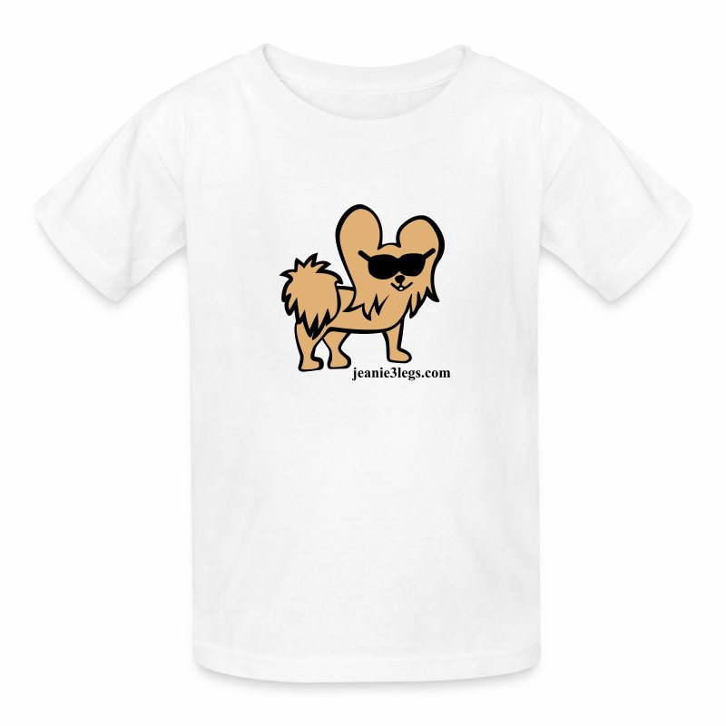 Kids Jeanie the 3-Legged Dog (brown graphic) - Kids' T-Shirt