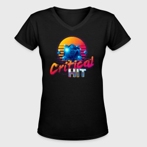 Critical Hit Dungeons & Dragons d20 - Women's V-Neck T-Shirt