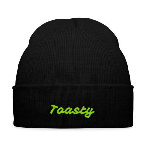 Green Toasty Font Knit Cap - Knit Cap with Cuff Print