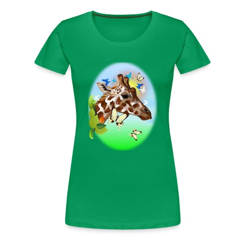 GIRAFFE and BUTTERFLIES-sun - Women's Premium T-Shirt