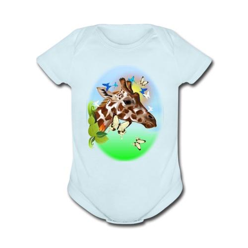 GIRAFFE and BUTTERFLIES-sun - Organic Short Sleeve Baby Bodysuit