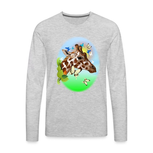 GIRAFFE and BUTTERFLIES-sun - Men's Premium Long Sleeve T-Shirt