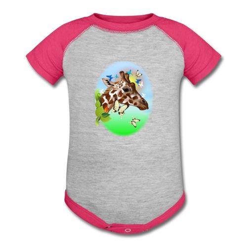 GIRAFFE and BUTTERFLIES-sun - Baby Contrast One Piece