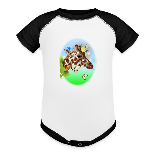 GIRAFFE and BUTTERFLIES-sun - Contrast Baby Bodysuit
