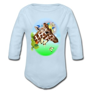 GIRAFFE and BUTTERFLIES-sun - Long Sleeve Baby Bodysuit