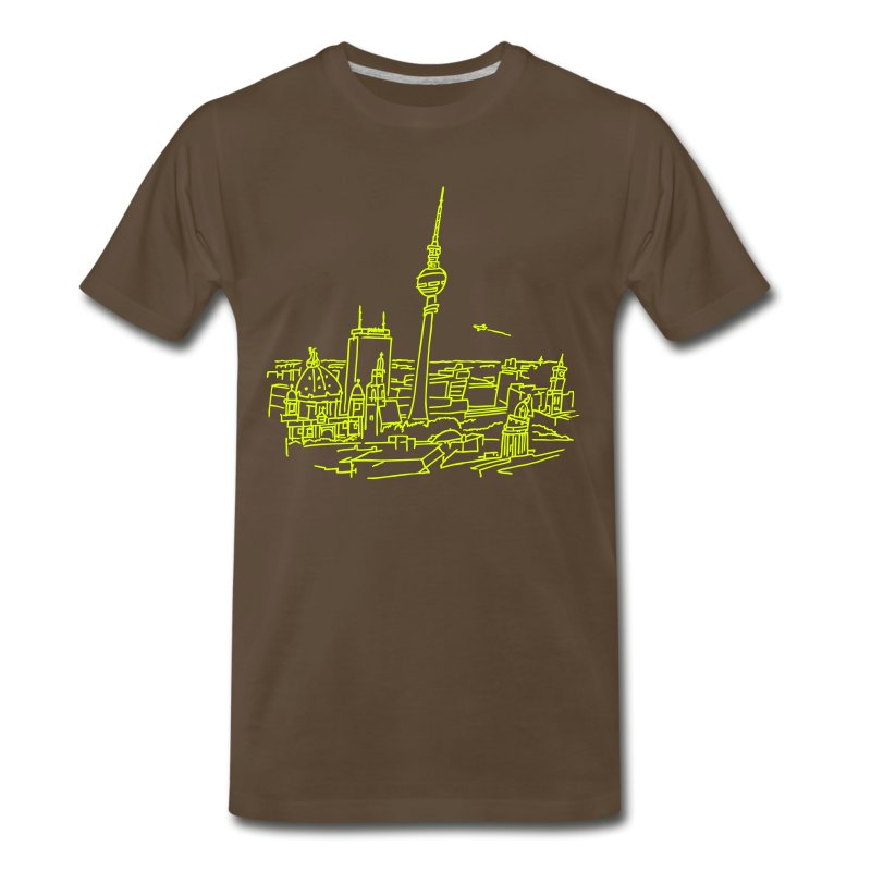 Panorama of Berlin (neon) - Men's Premium T-Shirt