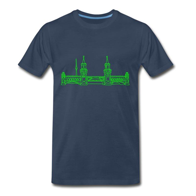 Oberbaum Bridge in Berlin (neon) - Men's Premium T-Shirt