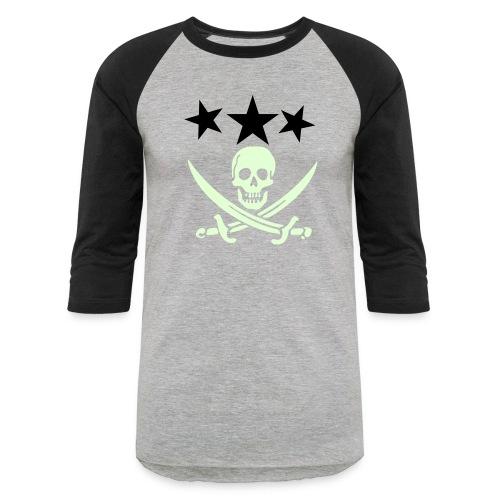 3 stars with pirate logo GITD - Baseball T-Shirt