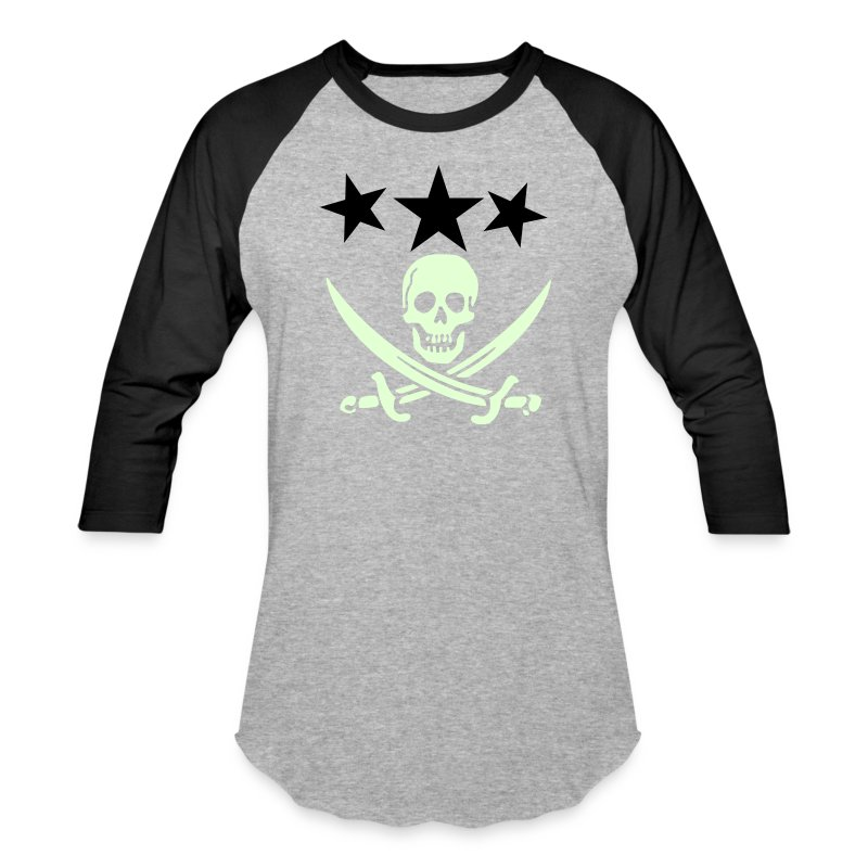 3 stars with pirate logo GITD - Baseball T-Shirt