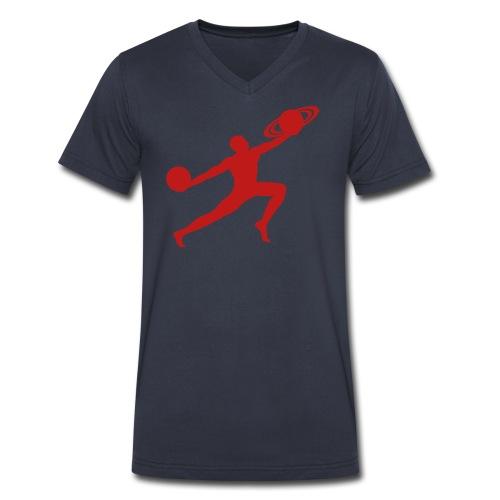 V-Neck Red Glitter SParkle Logo  - Men's V-Neck T-Shirt by Canvas