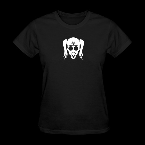Gas Mask Girl Solid White - W Std Wt - Women's T-Shirt