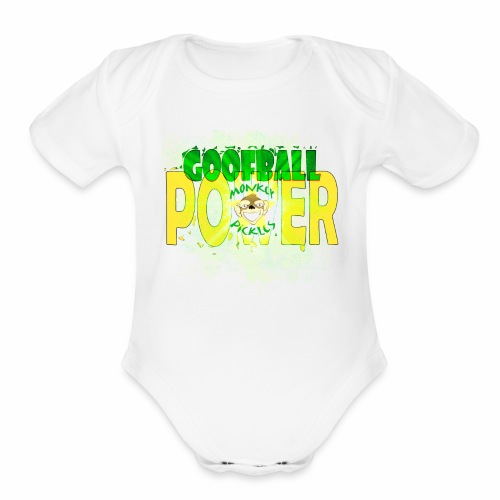 Monkey Pickles Baby    - Goofball Power - Organic Short Sleeve Baby Bodysuit