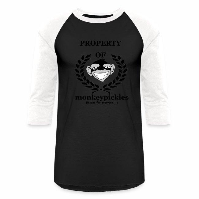 Baseball Shirt - Property of Monkey Pickles