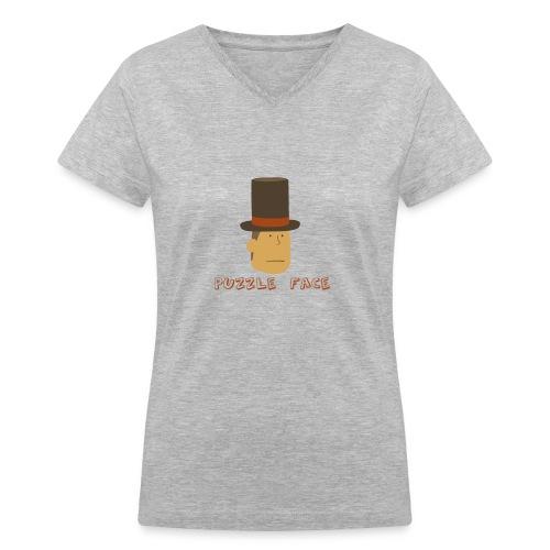 Professor Layton Puzzle Face - Ladies V-Neck - Women's V-Neck T-Shirt