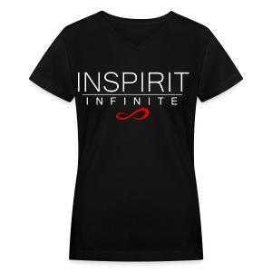 Infinite Inspirit in White Women's V-Neck - Women's V-Neck T-Shirt