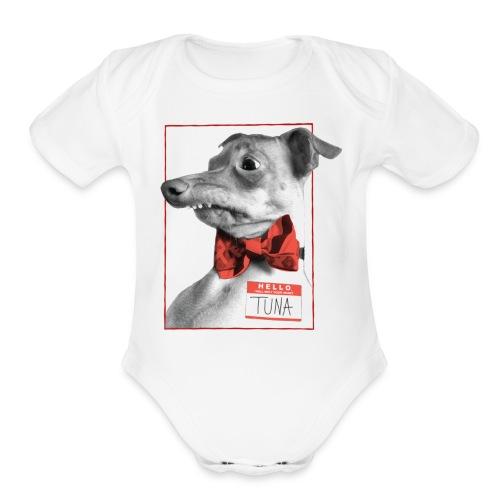 Hello. I will melt your heart. TUNA - Organic Short Sleeve Baby Bodysuit