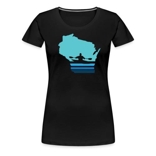 Retro Kayak Wisconsin Moon - Women's - Women's Premium T-Shirt