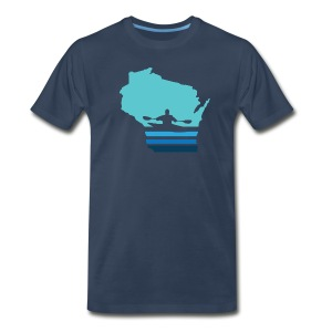 Retro Kayak Wisconsin Moon - Men's - Men's Premium T-Shirt