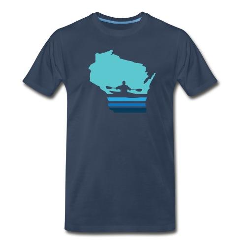 Retro Kayak Wisconsin Moon - Men's - Men's Premium T-Shirt