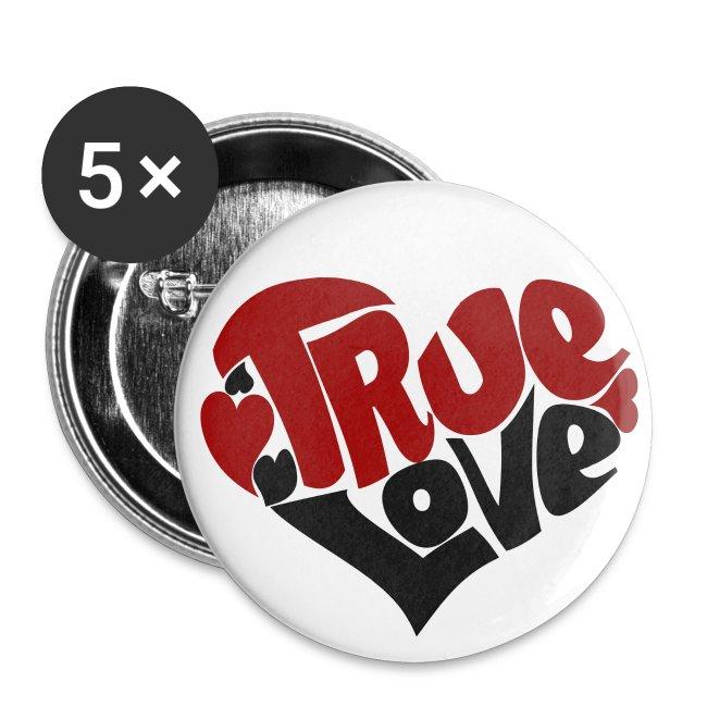 True Love Heart Buttons | Buttons small 1'' (5-pack)
