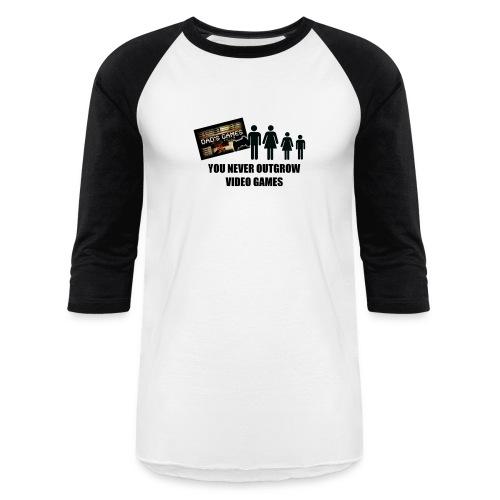 You Never Outgrow Video Games - Dad's Games Logo - Baseball T-Shirt