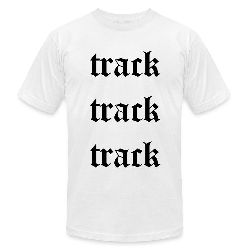 Track Track Track (White) - Men's Fine Jersey T-Shirt