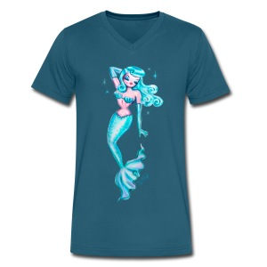 Dreamy Blue Pinup Mermaid - Men's V-Neck T-Shirt by Canvas