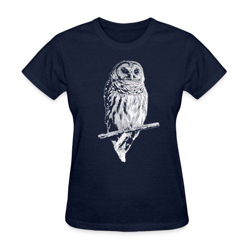 Barred Owl 4768 (white ink) - Women's T-Shirt
