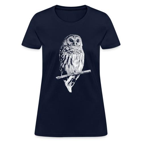 Barred Owl 4768 (white ink) - Women's T-Shirt