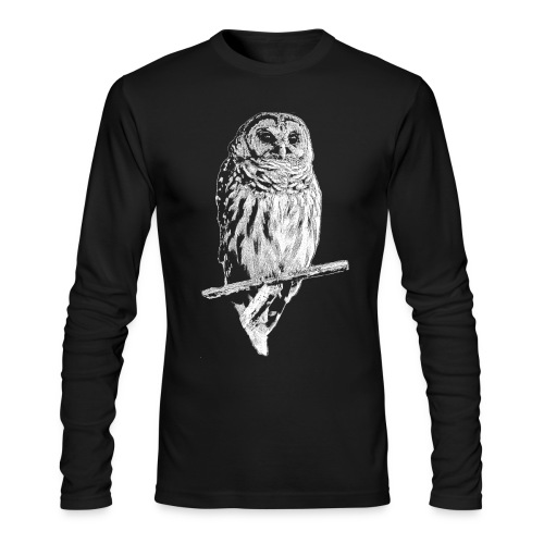 Barred Owl 4768 (white ink) - Men's Long Sleeve T-Shirt by Next Level