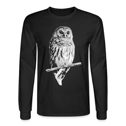 Barred Owl 4768 (white ink) - Men's Long Sleeve T-Shirt
