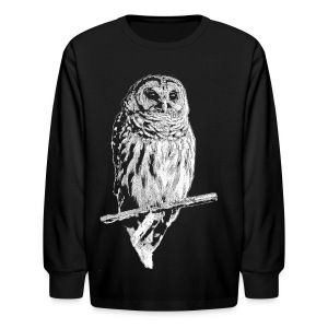 Barred Owl 4768 (white ink) - Kids' Long Sleeve T-Shirt