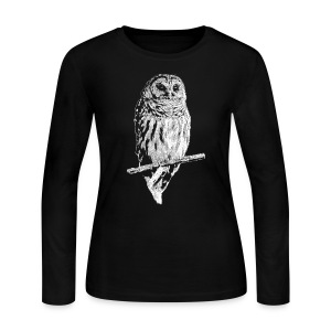 Barred Owl 4768 (white ink) - Women's Long Sleeve Jersey T-Shirt